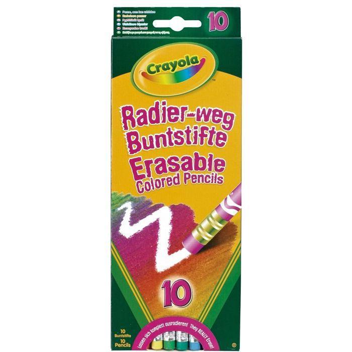10 Crayons de couleur effaçables