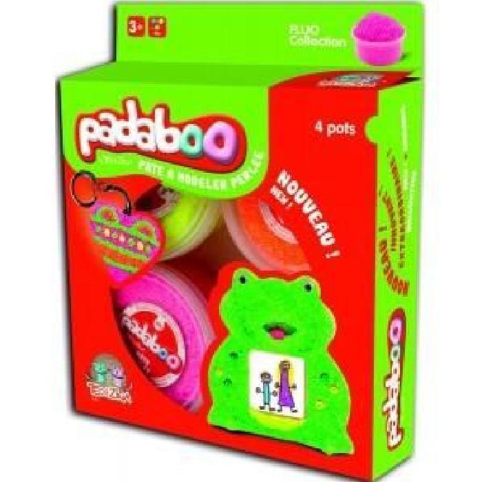 PADABOO Lot de 4*38,5g pâte a modeler perlée fluo