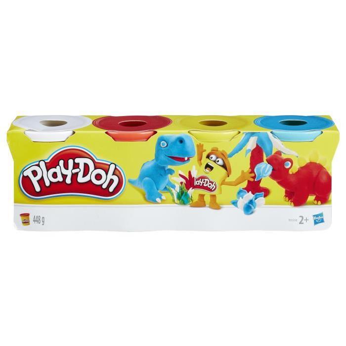 PLAY-DOH 4 Pots Couleurs Classiques - Blanc, rouge, jaune, bleu