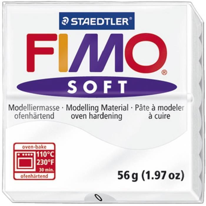 STAEDTLER Pâte a modeler a cuire Fimo Soft bloc 56 g blanc