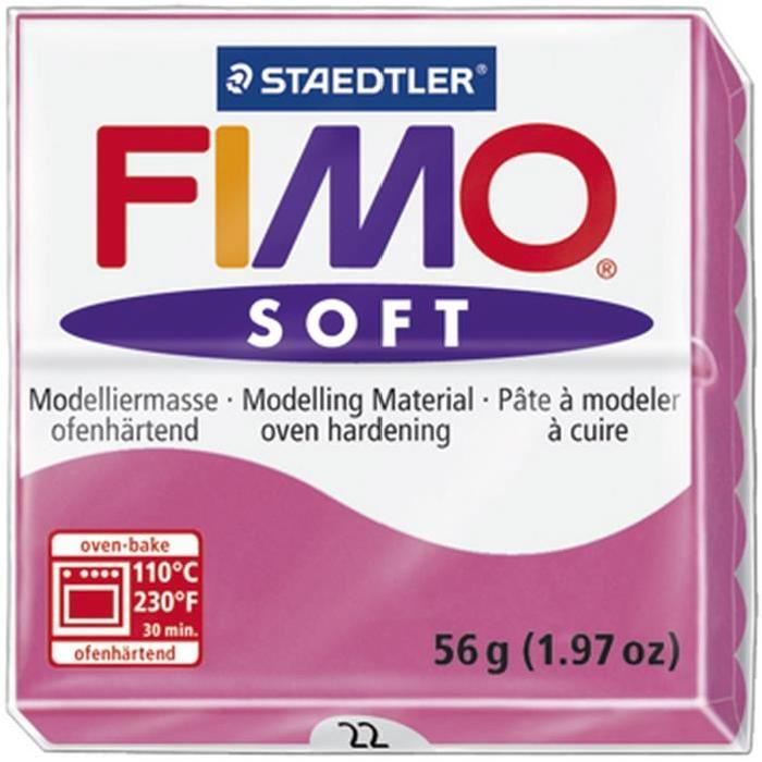 STAEDTLER Pâte a modeler a cuire Fimo Soft bloc 56 g framboise