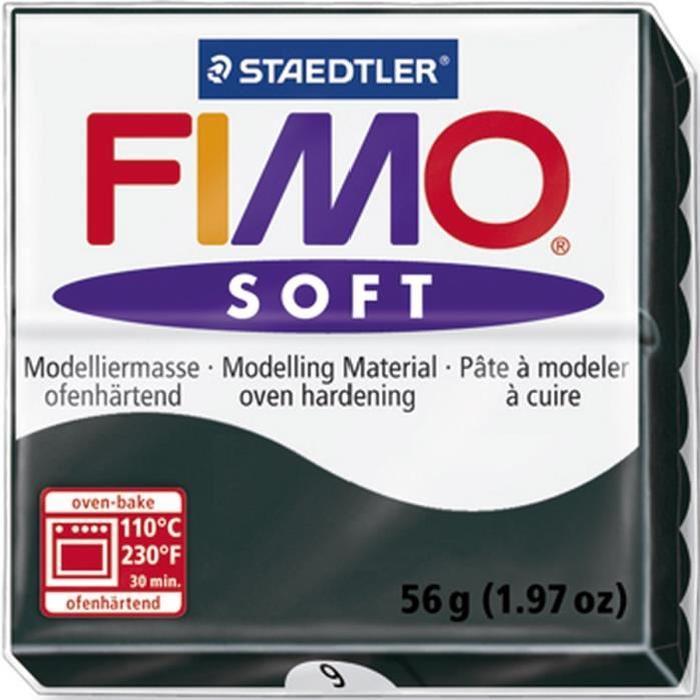 STAEDTLER Pâte a modeler a cuire Fimo Soft bloc 56 g noir