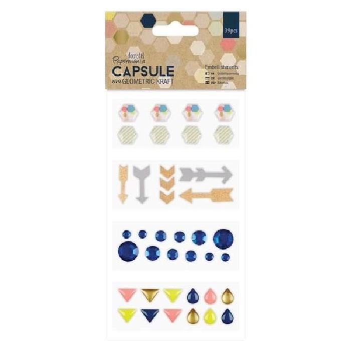 DOCRAFTS Lot de 6 enveloppes cadeaux Capusle Geometric Kraft