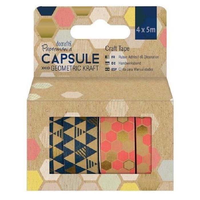 DOCRAFTS Lot de 39 stickers pour scrapbooking Capusle Geometric Kraft