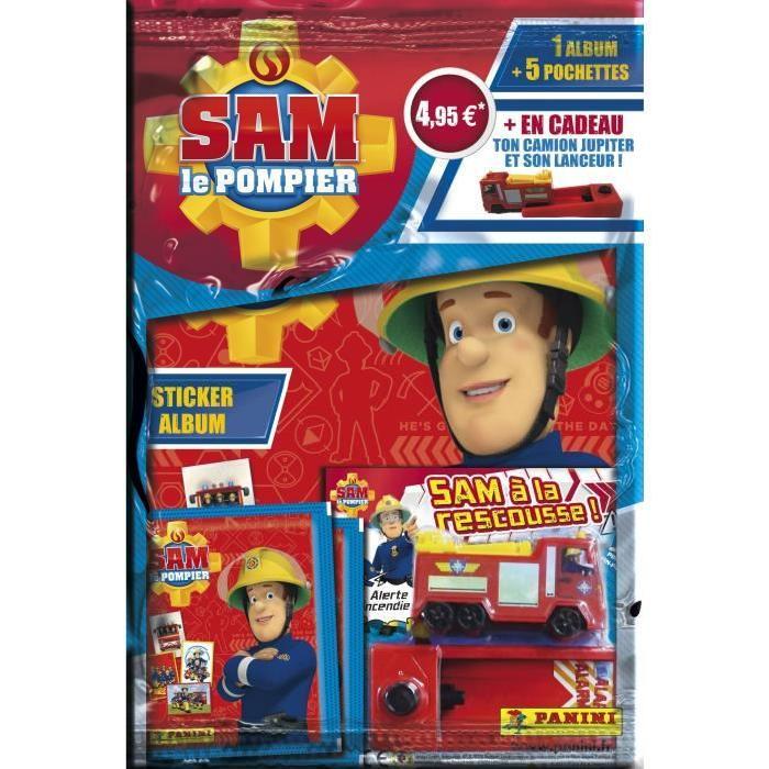 PANINI Album + 5 pochettes de 5 stickers + 1 camion de pompier Sam Le Pompier