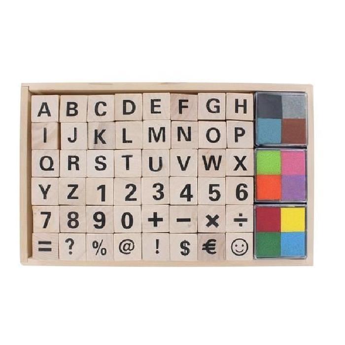 LA FOURMI Set 26 tampons alphabet en bois - 2x2x2cm + 4 couleurs