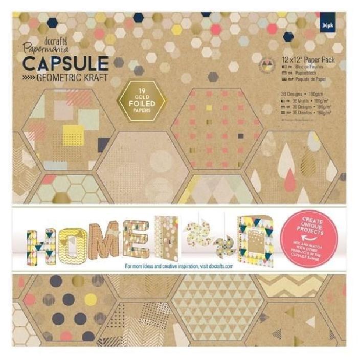 DOCRAFTS Kit de 16 étiquettes et tampons Capsule Geometric Kraft