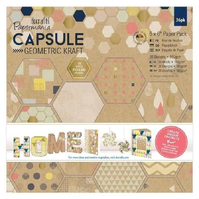 DOCRAFTS Kit mini-cartes et tampons Capsule Geometric Kraft - 27 pieces