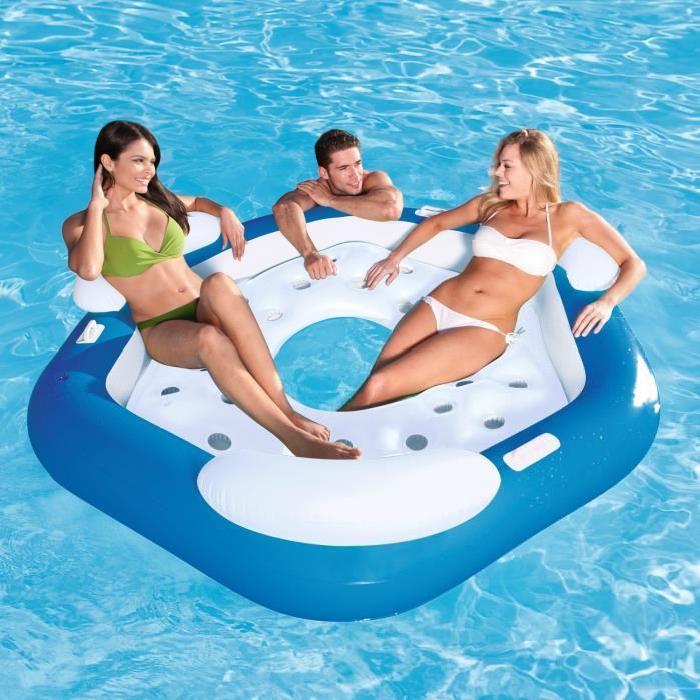 BESTWAY Matelas adulte piscine île Gonflable pentagone 191cm x 178cm 3 dossiers 3 poignées