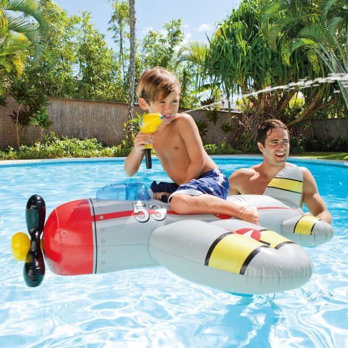 INTEX Matelas enfant / Avion gonflable a Chevaucher + Pistolet a eau arroseur (couleur aléatoire)
