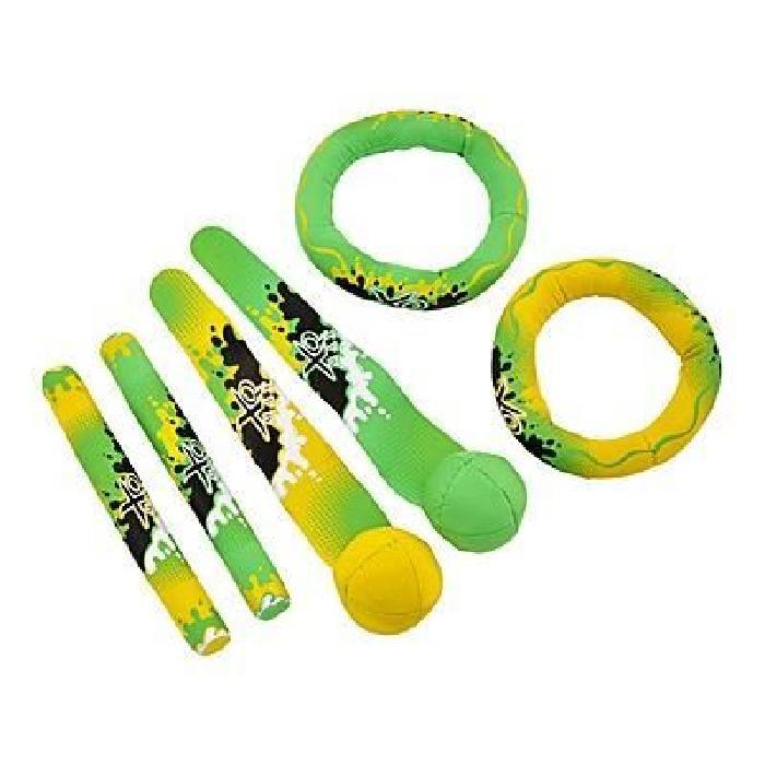 XQ Max Lot de jouets en néoprene pour la piscine - Vert / Jaune