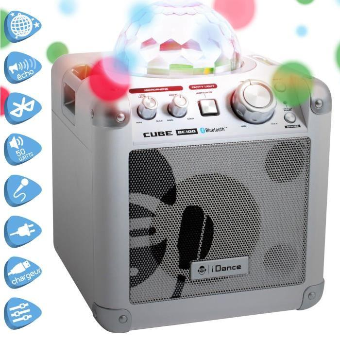 "I-DANCE ""SING CUBE"" Boombox Bluetooth and Lights 15Watts RMS + Micro"