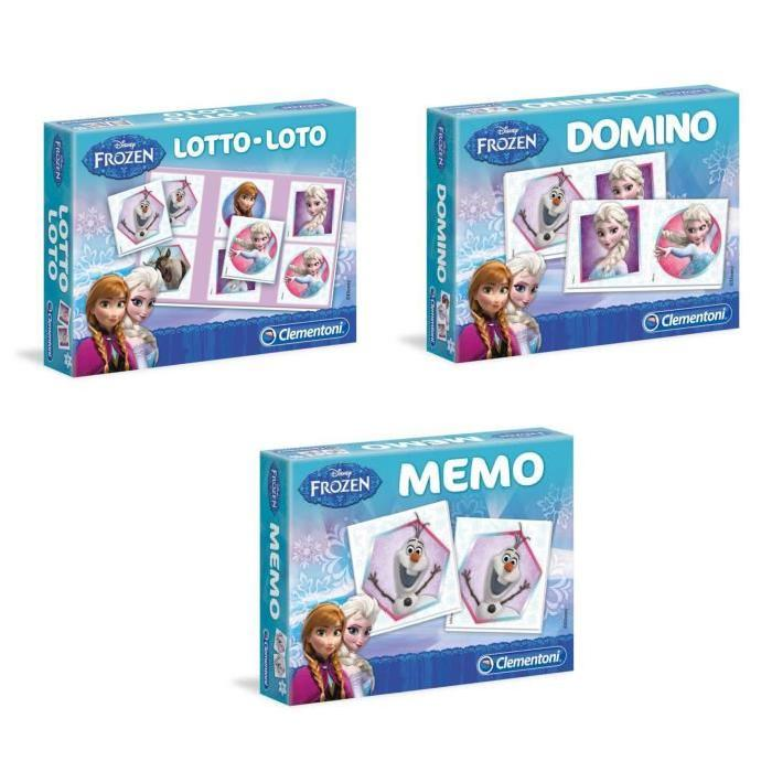 PACK LA REINE DES NEIGES Memo + Loto + Domino