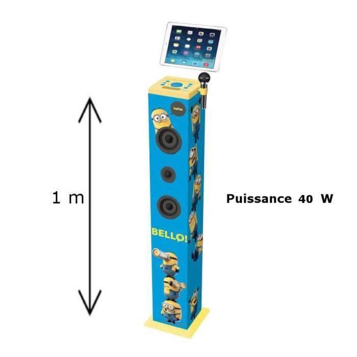 LES MINIONS Tour de son Bluetooth Led avec Micro Lexibook 40 W