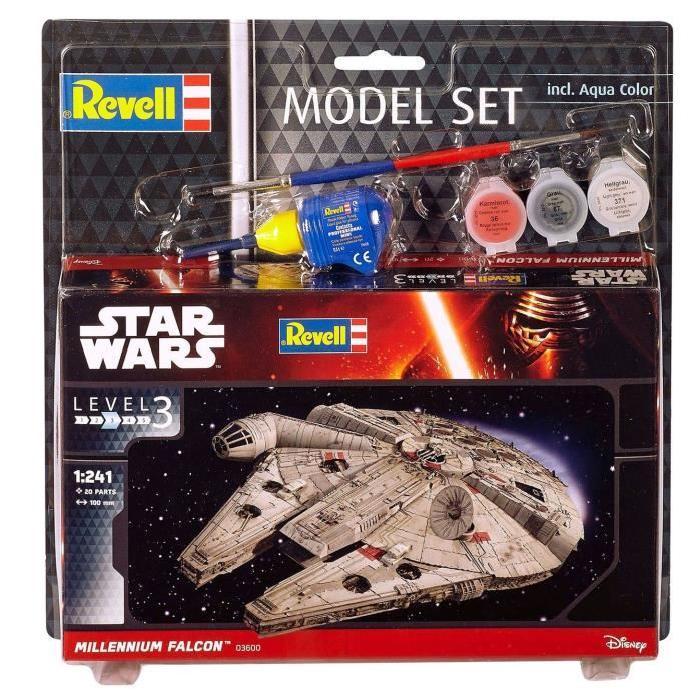 STAR WARS Model Set Millennium Falcon Maquette a Construire, a Coller et a Peindre, Avec Accessoires
