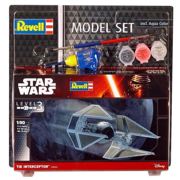 STAR WARS Model Set Tie Interceptor Maquette a Construire, a Coller et a Peindre, Avec Accessoires