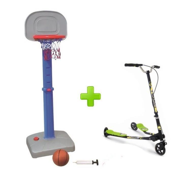FUNBEE Kit Multi-Activités avec Trottinette et Panier de Basket sur Socle