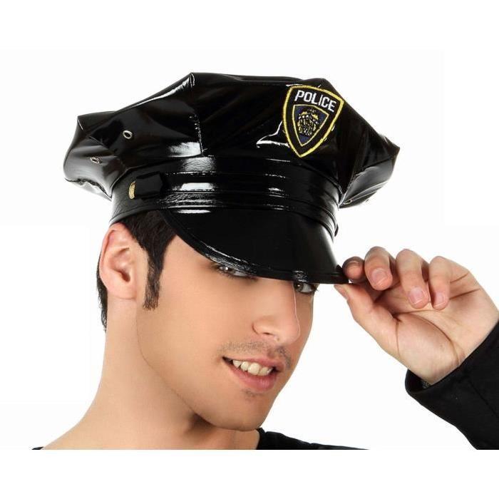 ATOSA Chapeau Police Cuir Noir