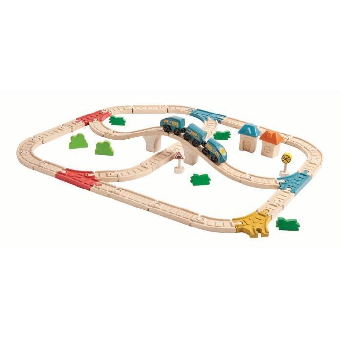 PLAN TOYS Jeu en bois Circuit train double avec pont