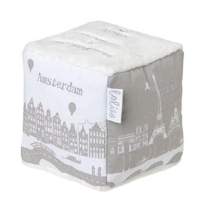 """BAMBAM Cube """" le monde """" - Des la naissance - Blanc et gris - Tissu - 10 x 10 x 10 cm"""