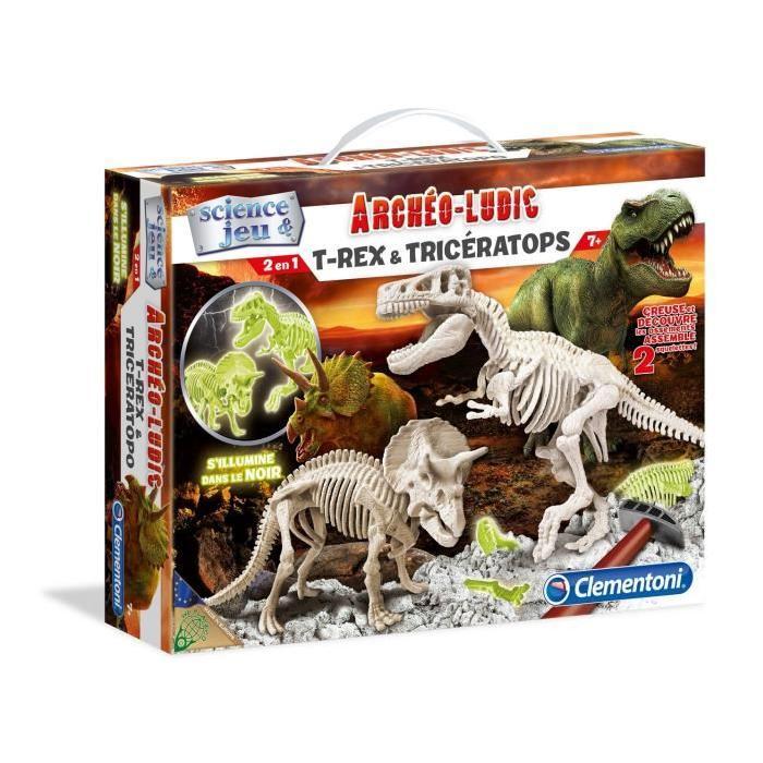 CLEMENTONI Archéo T-Rex&Tricératops Phosphorescent
