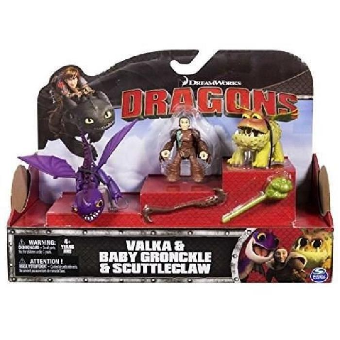 DRAGONS Figurine Dragon Et Son Dresseur Valka Babygronckle & Scuttleclaw
