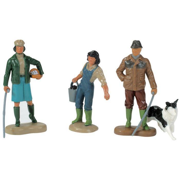 Lot de 4 figurines en plastique : 2 fermieres, fermier, chien