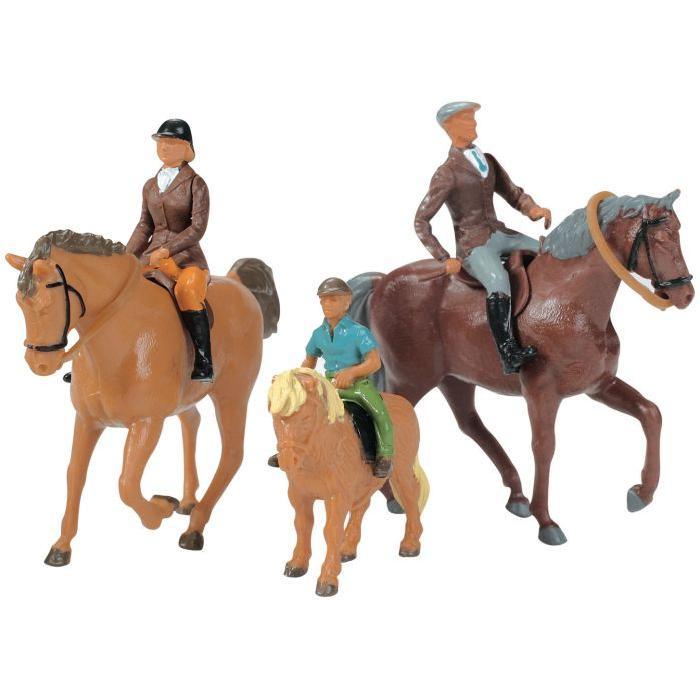 Lot de 6 figurines en plastique : 3 Chevaux avec cavaliers