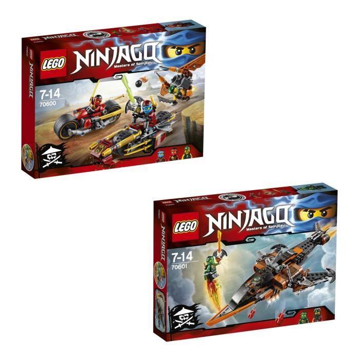 LEGO Ninjago : Bundle La Poursuite en Moto des Ninjas (70600) + Le Requin du Ciel (70601) - 5 figurines
